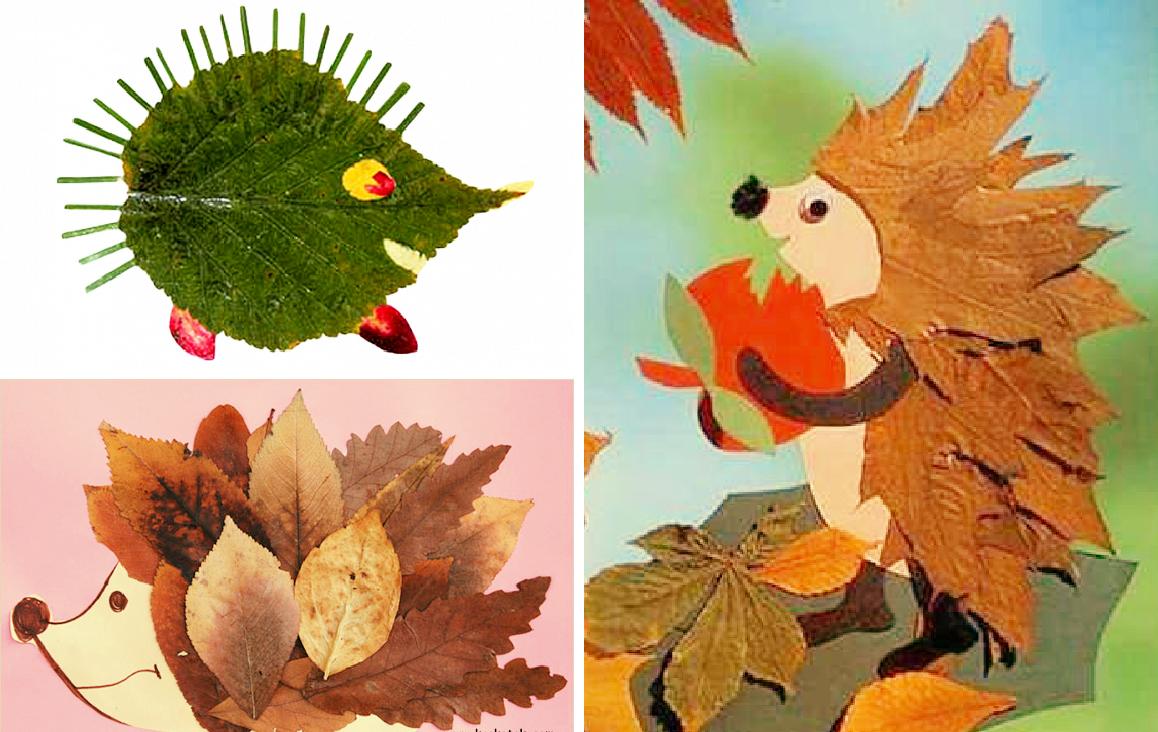 Осенние картинки из листьев для детского сада, новым годом